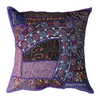 Antique Purple Heavy Beaded Patchwork Embroidered Accent Throw Pillow Cover Sham