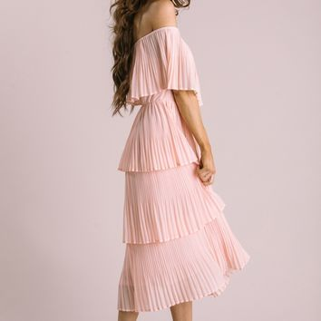 Vera Blush Pleated Ruffle Dress
