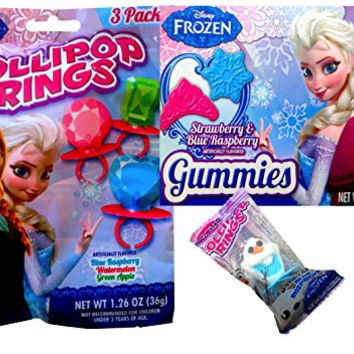 Disneyland Candy Survival Kit Disney Frozen Gummies BOX and Disney Frozen 3pack Lollipop Rings with Cute Disney Frozen Olaf Lollipop Ring for Disney Themed Birthday Parties, Disneyland, Picnics