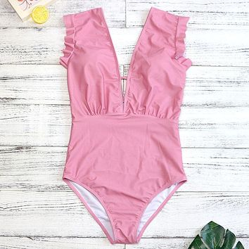 Luxury Pink One Piece Swimsuit Women Sexy Swimwear Deep V Chest Swimwear Halter Bathing Suit Bodysuit One Piece 2889