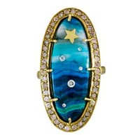 Diamond and Chrysocolla Shooting Star Ring