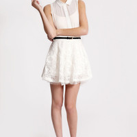 Boutique Macy Flower Embroidered Organza Skirt