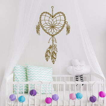 Dream Catcher Wall Decal- Boho Dreamcatcher Decal- Heart Dreamcatcher Feather Vinyl Wall Decal Tribal Bohemian Bedroom Nursery Decor #51