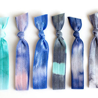 The Wonderland Tie Dye Hair Tie Package - 6 Elastic Tie Dye Hair Ties that Double as Bracelets by Mane Message on Etsy
