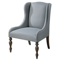 Filon Seaglass Wing Chair with Silver Accent Nails