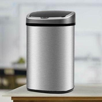 New 13-Gallon Touch-Free Sensor Automatic Stainless-Steel Trash Bin/ Can