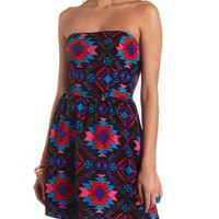 Aztec Print Strapless Skater Dress by Charlotte Russe - Multi