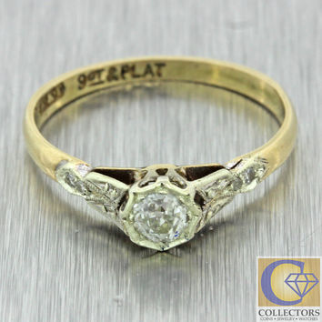1920s Antique Art Deco 9ct Gold Platinum Old Mine Cut Diamond Engagement Ring