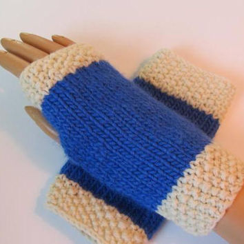 Royal Blue, White Alpaca and Wool Fingerless Texting Mittens, Gloves, Handmade, School Colors