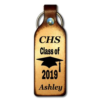 Graduation Gift Personalized Leather Keychain