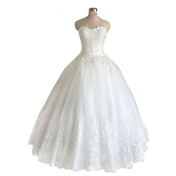 Custom Lace Up White Lace Wedding Dress Sweetheart Sleeveless Tulle Wedding Gowns Bridal Dresses