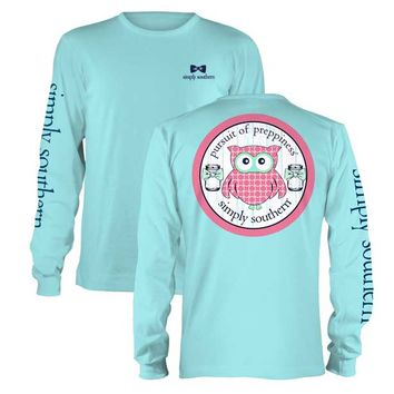 Simply Southern Preppy Collection Owl Long Sleeve Tee LS-PRPOWL-POOL