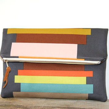 charcoal foldover clutch purse in stripes / pink peach gold brown orange lime teal / spring and summer fashion / designer fabric / recycled