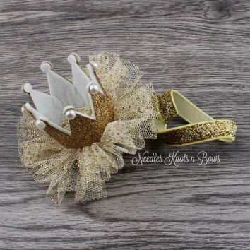 Baby Girls Glitter Gold Crown, Girls Gold Princess Crown, Infant Crown, Crown Headband, Newborn Headband