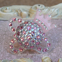 Pink Bling Crown Rhinestone Pacifier Dummy