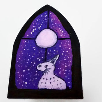 Full Moon Painting, The Hare At The Window, Starry Sky Wooden Sign