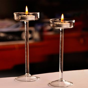 Elegant Crystal Glass Candle Holder Tealight Wedding Home Decor Candlestick Wedding Party Supplies