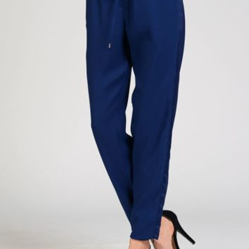 Navy Track Pants With Satin Side Panels