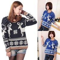 Stylish Hot Women Round Neck Sweater Knitted Top Pullover Jumper Knitwear F_F = 1902705860