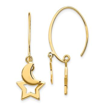 14k Yellow Gold Polished Star and Crescent Moon Dangle Earrings