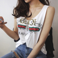"""Gucci"" Fashion V-Neck Letters Printed Sleeveless Vest T-Shirt"