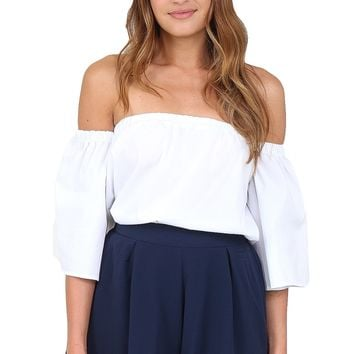 White Off The Shoulder Top at Blush Boutique Miami - ShopBlush.com : Blush Boutique Miami – ShopBlush.com