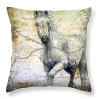 Horse Pillow - Whispers Across The Steppe - Throw Pillow