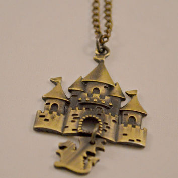 Gifts for Her // Fantasy Gifts // Princess Gifts // Dragon in the Castle Fairy Tale Antique Bronze Necklace