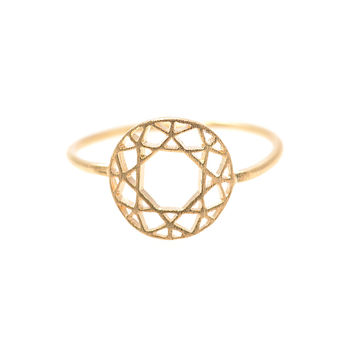 Handcrafted Brushed Metal Geometric Celtic Circle Ring