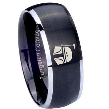 8MM Matte Brush Black Dome Star Wars Boba Fett Sci Fi Science 2 Tone Tungsten Laser Engraved Ring