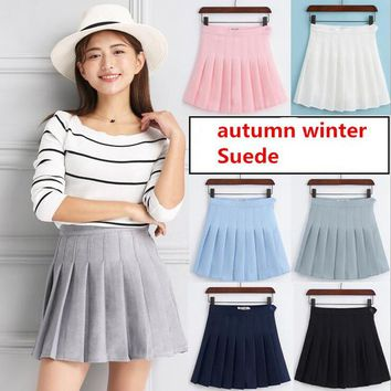 Autumn Winter Suede Lolita A-line Skirt 2018 High Waist Pleated Skirts Kawaii Harajuku Skirts Plus Size Preppy School Uniform