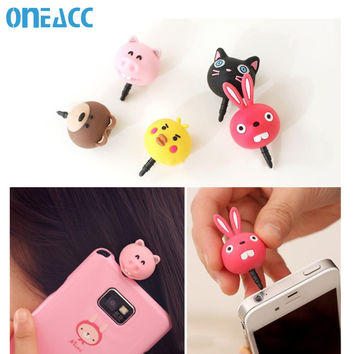 Cute Animal Bear Anti Dust Plug Cap Cell Phone Accessories For Iphone 6 Pig Bird Universal 3.5mm Jack Plug for samsung galaxy s6