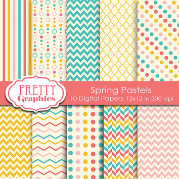 DIGITAL PAPERS - Spring Pastels Paper Pack - Commercial Use - 12x12 JPG Files -Printable Papers- Scrapbook Papers - High Quality 300 dpi