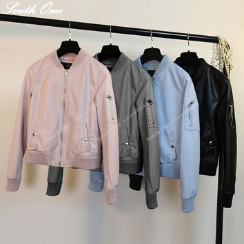 New! Leather Bomber Jacket Women Pink/blue/Black Jacket bomber jackets ladies zipper PU baseball blouson Moto femme Coat Casaco