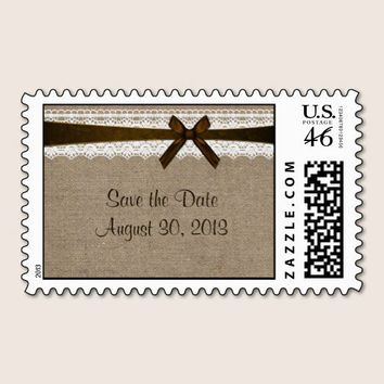 Rustic Burlap and Vintage Lace Save the Date Stamps from Zazzle.com