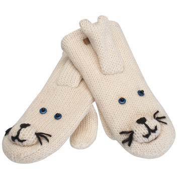 Baby Seal Knit Mittens