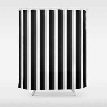 STRIPES Black & White Shower Curtain by 2sweet4words Designs