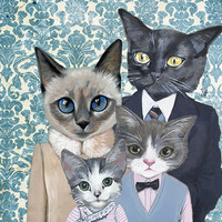 Family Portrait I Cats In Clothes Fine Art by HeatherMattoonArt