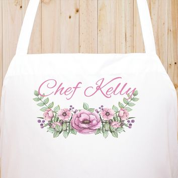 Custom Text Floral Flowers Chef Fun Kitchen Apron, BBQ Apron, Restaurant Apron Quality Cooks Clothing  FL19