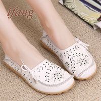 ifang 2016 Spring Summer women flats shoes women genuine leather shoes woman cutout loafers slip on ballet flats boat shoes