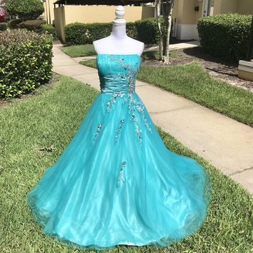 MILANO FORMALS Women's Plus Size Teal Pageant Prom Ball Gown, Size 3X 24