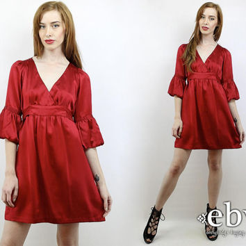 Vintage 90s Deep Red Betsey Johnson Silk Party Dress S Silk Dress Betsey Johnson Dress Crimson Dress Babydoll Dress Christmas Dress