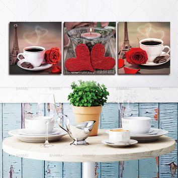 Canvas painting 3 piece Modular Paintings On  Classical  Coffee Rose Posters and Prints for Kitchen The Wall Art  Cuadros Decor