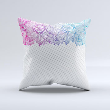 Vibrant Vintage Polka & Sketch Pink-Blue Floral  Ink-Fuzed Decorative Throw Pillow