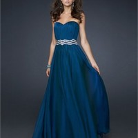 Gorgeous Strapless Sweetheart Neckline with Beaded Waistband Chiffon Prom Dress PD11073