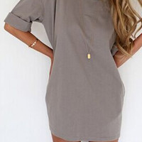 Gray Half Sleeve Mini Dress