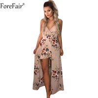 ForeFair Sexy V Neck Women Maxi Rompers Plus Size Summer Sleeveless Split Boho Jumpsuit Autumn