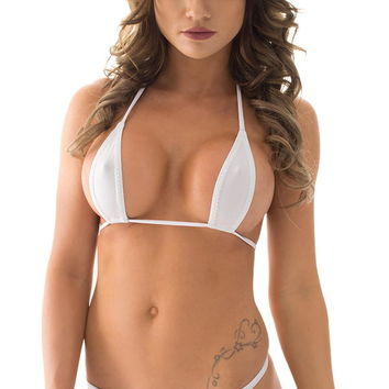 Teardrop G String Micro Bikini in ThinSkinz White