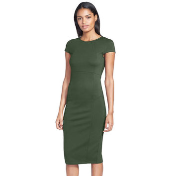 Vintage Short Sleeve Jewel Neck Full Zipper Over knee-Length Sheath Business Office Casual Bodycon Seamed Pencil Dress