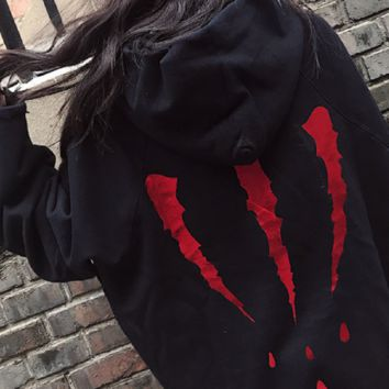 The new second generation blood drop claw marks hoodie blouse gold men and women plus velvet hooded sweater